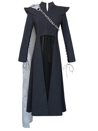 Women's Black Long Sleeve Dress Cosplay Party Costume Chain Cape