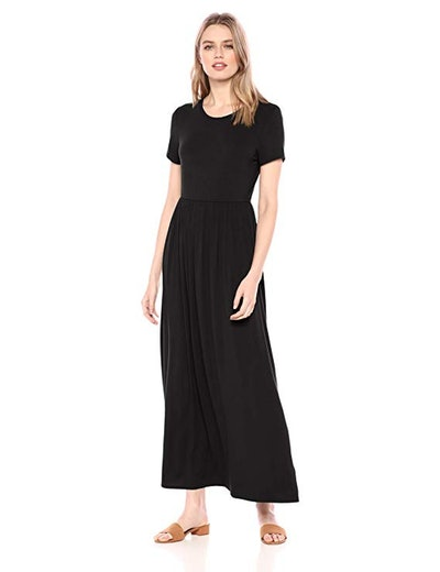 Amazon Essentials Women's Short-Sleeve Waisted Maxi Dress