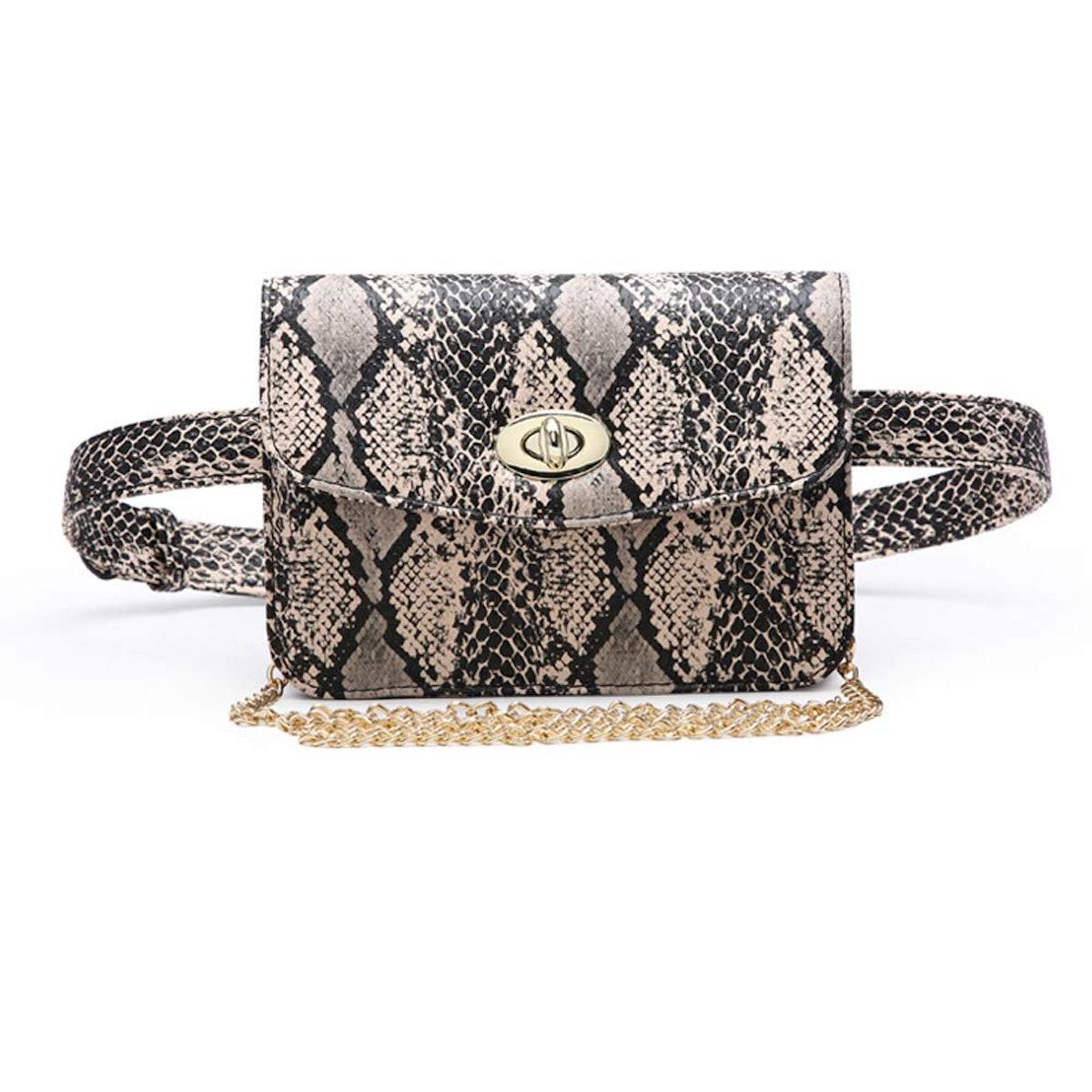Small PU Leather Elegant Fanny Pack Belt Bag Purse Snakeskin Pattern