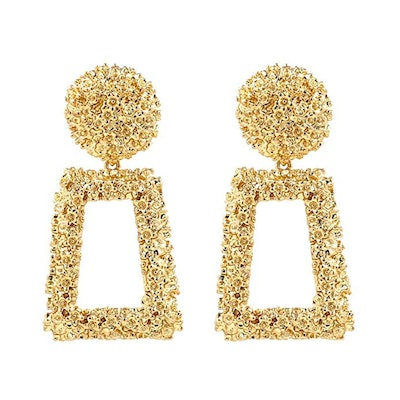 Kelmall Golden/Silver Raised Design Statement Earrings