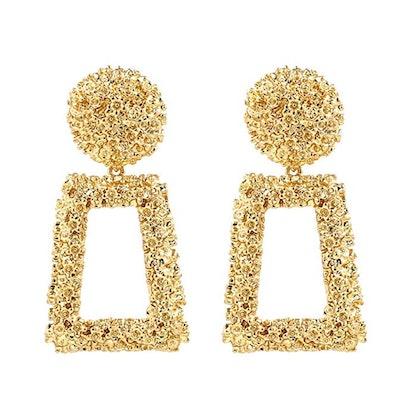 Kelmall Golden/Silver Raised Design Statement Earrings