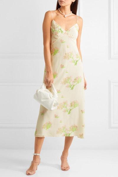 Floral-Print Silk Crepe De Chine Midi Dress