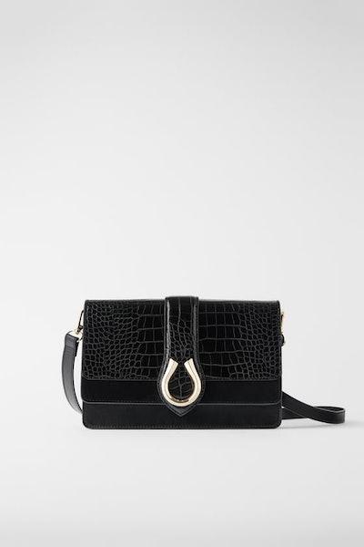 Animal Print Crossbody Bag With Horseshoe Detail