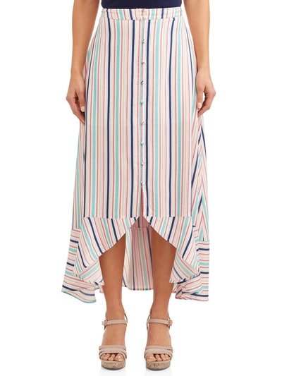 Cherokee Women's Button Front Hi-Low Skirt