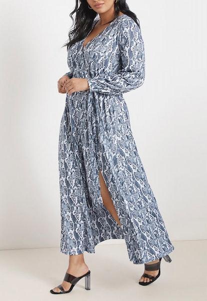 Printed Wrap Maxi Dress