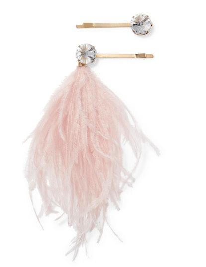 Gold Tone Feather Hair Pin Set