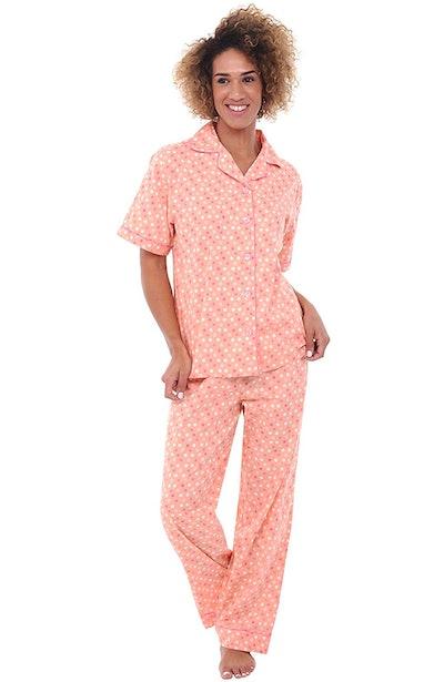 Alexander Del Rossa Button Down Cotton Pajama Set