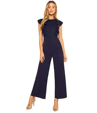 Romwe Women's Sleeveless Ruffle Wide Leg Jumpsuit