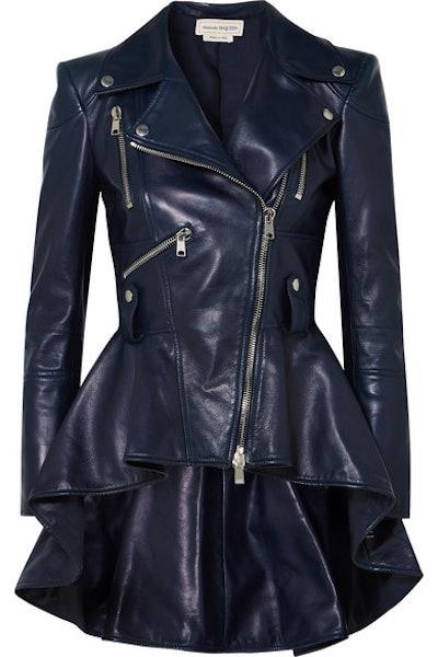 Leather Peplum Biker Jacket