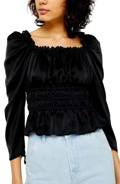 Satin Gather Prairie Blouse