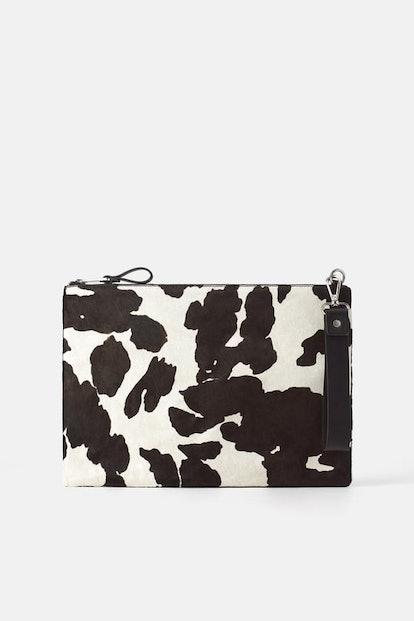 Animal Print Leather Clutch