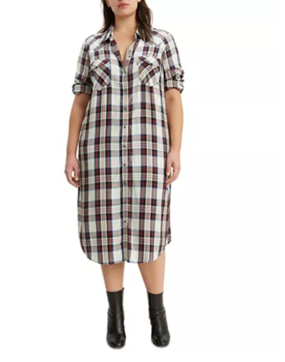 Levi's Plus Size Fiora Plaid Western Shirtdress
