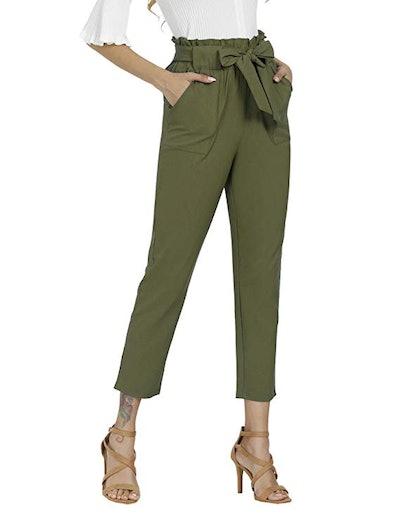 Freeprance Women's Pants Casual Trouser Paper Bag Pants
