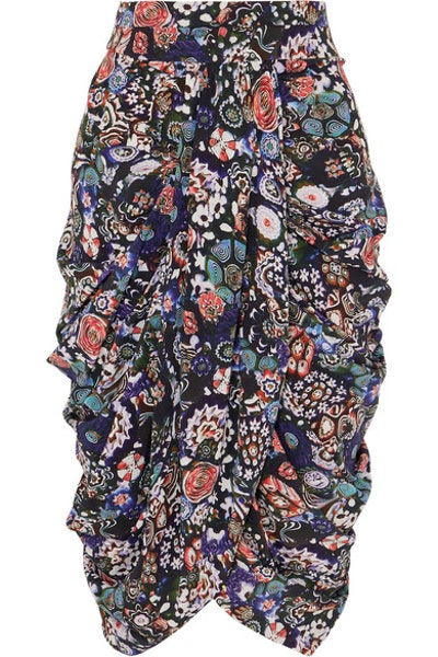 Isabel Marant Betina ruched floral-print stretch-silk crepe de chine skirt