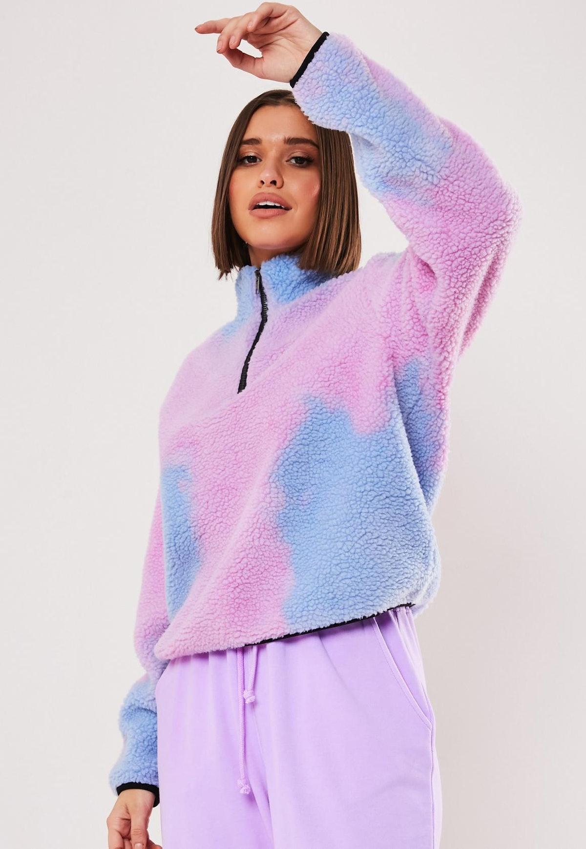 Lilac Tie Dye Borg Zip Through Sweatshirt