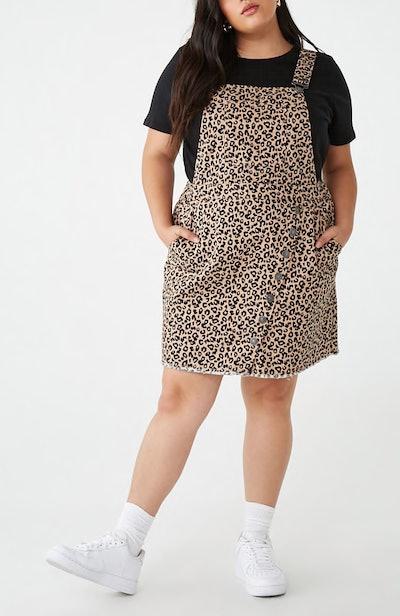 Denim Leopard Overall Dress