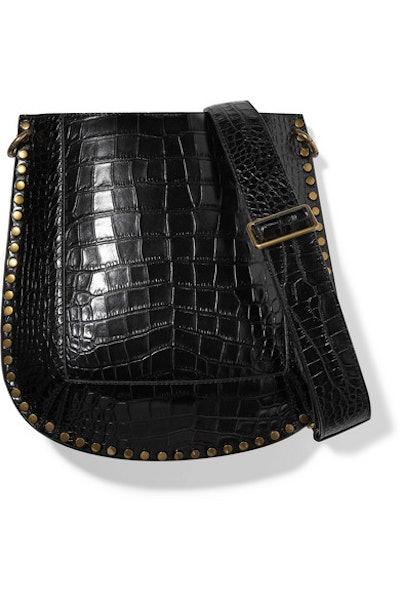 Isabel Marant Oskan studded croc-effect leather shoulder bag