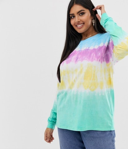ASOS DESIGN Curve relaxed long sleeve t-shirt in tie dye