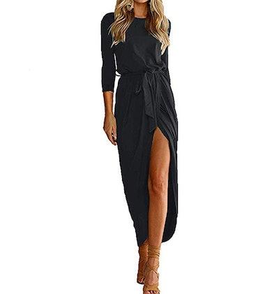 Qearal Women 3/4 Sleeve Belted Slit Long Maxi Dress