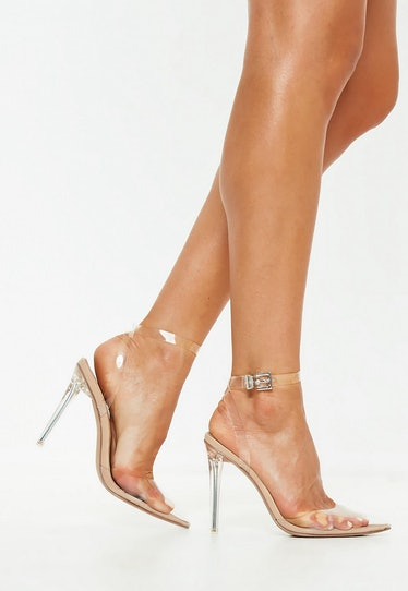 Nude Clear Ankle Strap Pumps