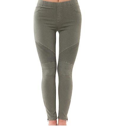 LAINAB Women's Biker Skinny Ankle Zipper Pants
