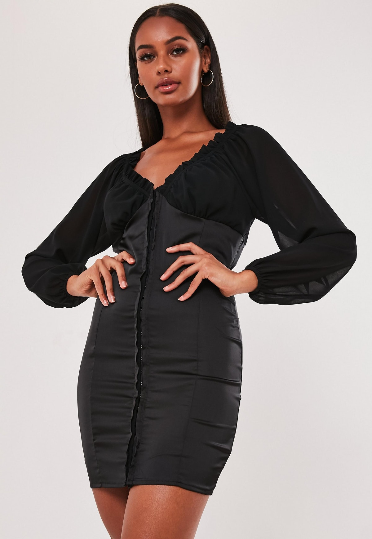 Black Satin Hook & Eye Mini Dress