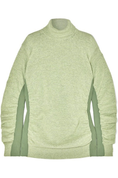 MM6 Maison Margiela Paneled ruched wool-blend turtleneck sweater