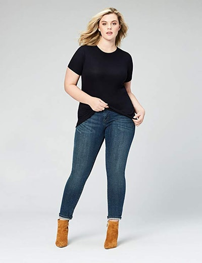 Daily Ritual Women's Plus Size Ribbed Short-Sleeve Crew Neck Shirt