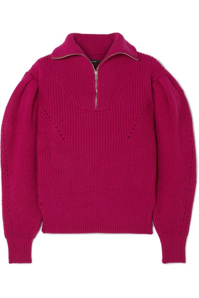 Isabel Marant Kuma pointelle-trimmed ribbed wool sweater