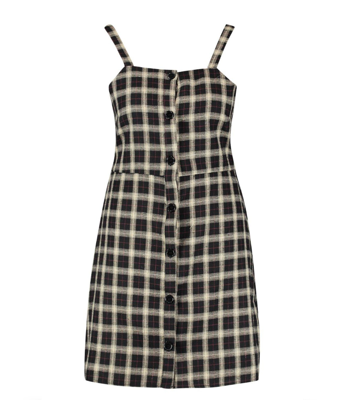 Plus Button Down Check Print Pinafore Dress
