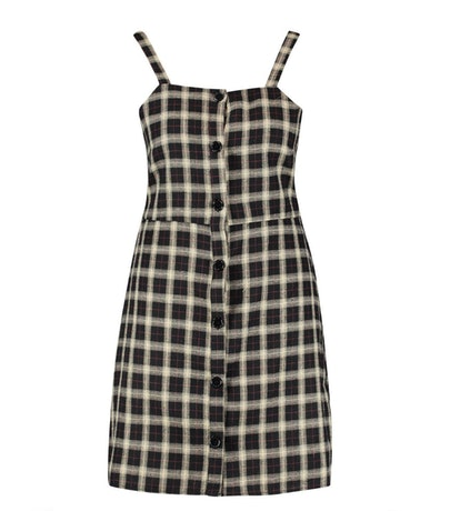 Plus Button Down Check Print Pinafore Dress