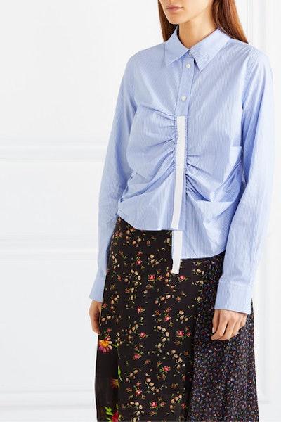 Asymmetric Grosgrain-Trimmed Ruched Striped Cotton-Poplin Shirt