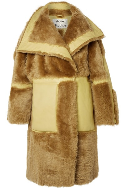 Acne Studios Luelle oversized paneled shearling and leather coat