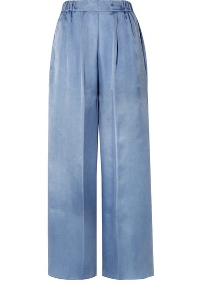 Washed Satin Wide-Leg Pants