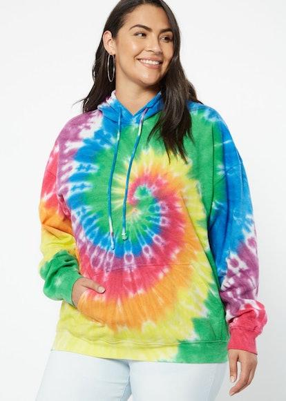 Plus Rainbow Spiral Tie Dye Hoodie