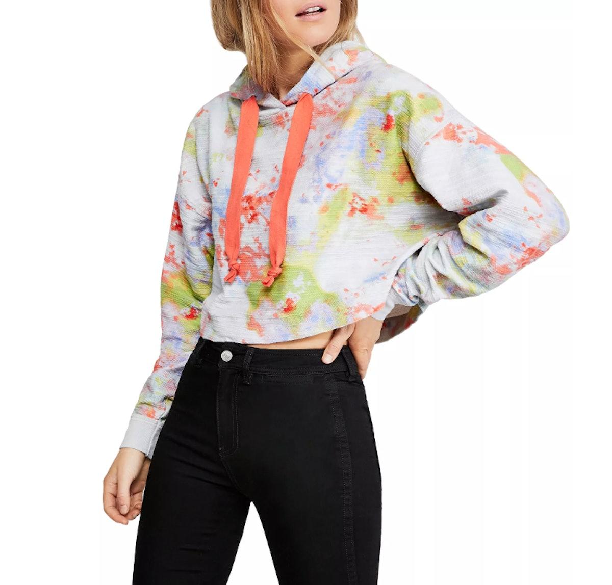 Free People Thinkin About You Tie-Dye Cropped Sweatshirt
