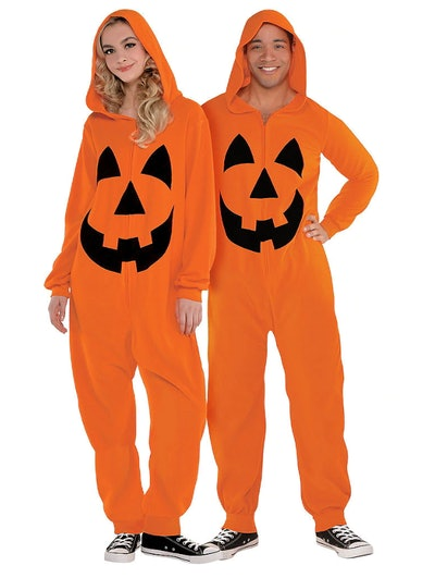 Adult Zipster Jack-o'-Lantern One Piece Costume
