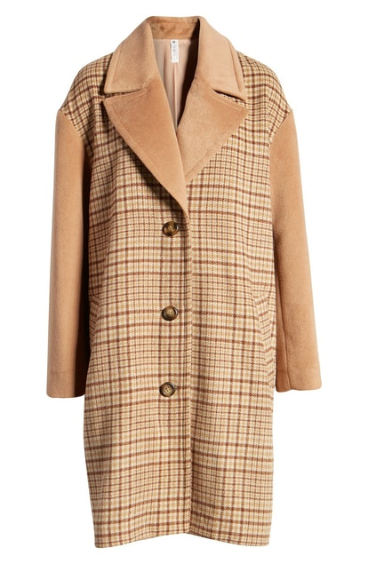 Mural Plaid Longline Coat