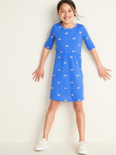Fit & Flare 1/2-Sleeve Jersey Dress for Girls