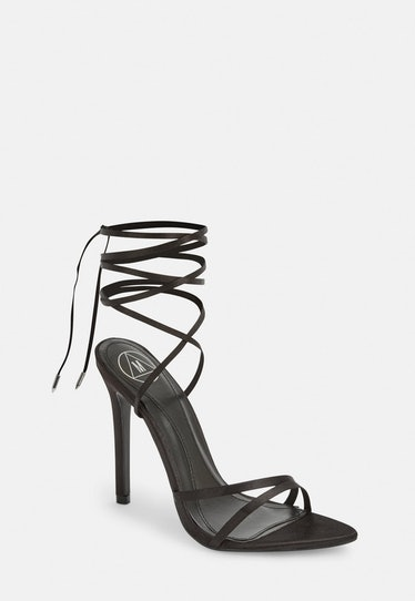 Pointed Toe Lace Up Barely There Heel