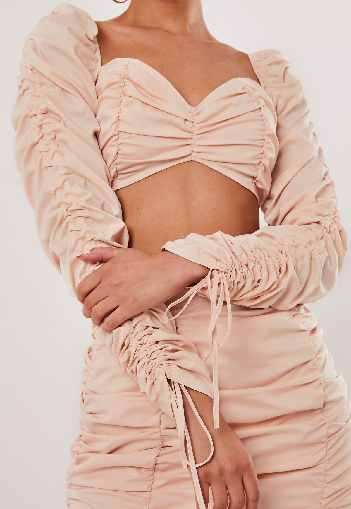 Blush Co Ord Ruched Milkmaid Top