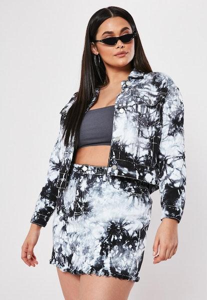 Plus size black tie dye co ord cropped denim jacket