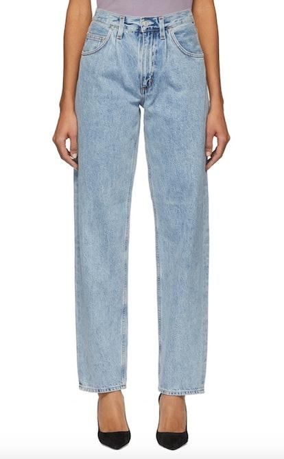Blue Pleats Baggy Oversized Jeans