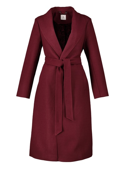 Berry Red Statement Wrap Coat