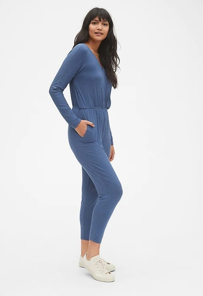 Long Sleeve Wrap Jumpsuit