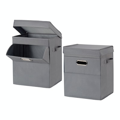 Mainstays Front Loading Stackable Small Laundry Hamper with Lid, 2 Pack, Grey