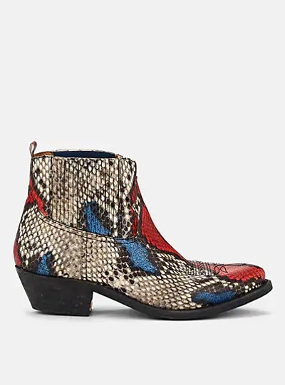Golden Goose Crosby Snakeskin-Stamped Leather Ankle Boots