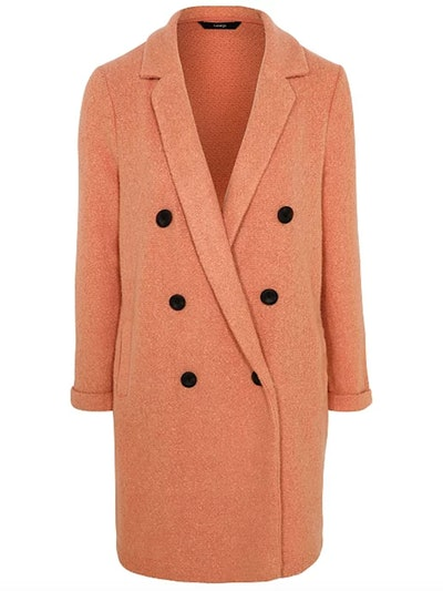 Coral Pink Double Breasted Longline Jacket