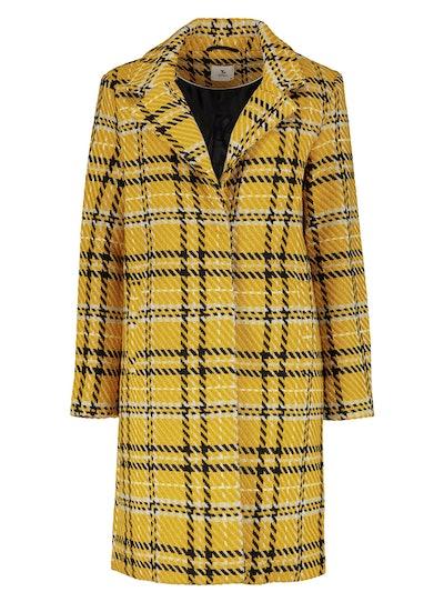 Yellow Statement Check Crombie Coat