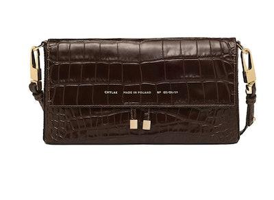 Shoulder Bag In Glossy Brown Crocodile